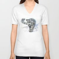 snow leopard V-neck T-shirts featuring snow leopard by KOSTART