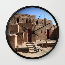 Taos Red Doors Wall Clock