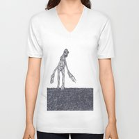 muscle V-neck T-shirts featuring Muscle Man by Nick Gibney