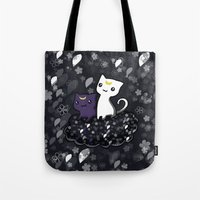 sailormoon Tote Bags featuring Sailormoon Luna and Artemis by Mayying