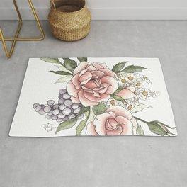 Watercolor Roses and Berries Rug