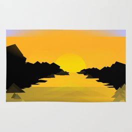 Sunset on the sea Rug