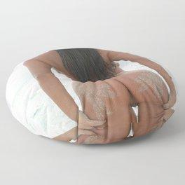 9527-SS Naked Woman Nude Beach Ocean Surf Sandy Handprints on Bare Ass Floor Pillow