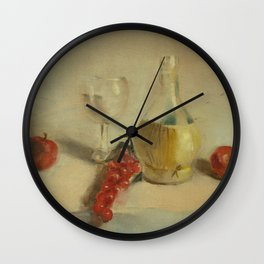 Fruit with Bottle of Water - Oil Painting Print Wall Clock