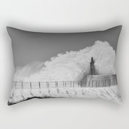 Stormy wave over old lighthouse Rectangular Pillow