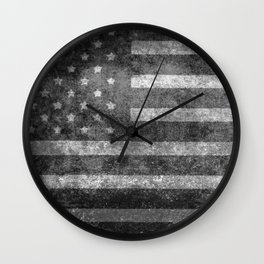 Black and White USA Flag in Grunge Wall Clock