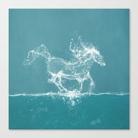 horse Canvas Prints featuring The Water Horse by Paula Belle Flores