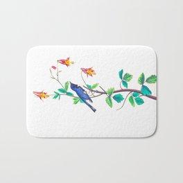 Blue Birds & Pastel Turquoise Leaves Bath Mat