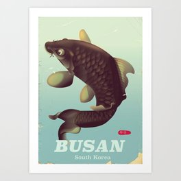 부산 Busan South Korean travel poster Art Print