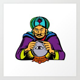 Fortune Teller With Crystal Ball Woodcut Art Print
