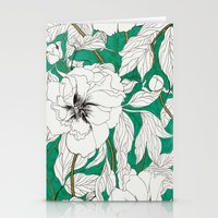 peonies Stationery Cards featuring green peonies by Marcella Wylie
