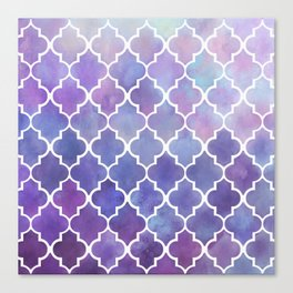 Purples & Pinks Watercolor Moroccan Pattern Canvas Print