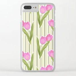 Retro. Pink tulips on a green striped background . Clear iPhone Case