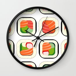 Colorful Sushi Pattern Wall Clock