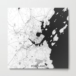 Portland Maine Map Gray Metal Print