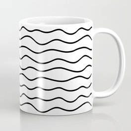 Modern White and Black Horizontal Wave Pattern // Squiggly Hand Drawn Lines Coffee Mug