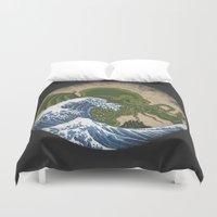 hokusai Duvet Covers featuring Hokusai Cthulhu by Marco Mottura - Mdk7