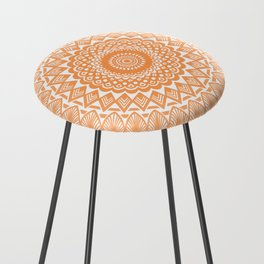 Orange Tangerine Mandala Detailed Textured Minimal Minimalistic Counter Stool
