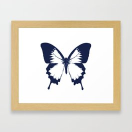 Navy and White Butterfly Framed Art Print