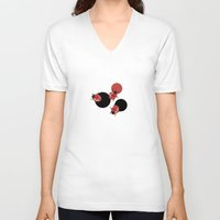 polka V-neck T-shirts featuring Ladybird Polka by Paula Belle Flores