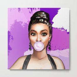 Retro Pinup Girl Blowing Bubble Gum Paint Strokes Metal Print