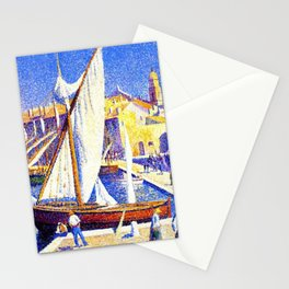 Port of Saint-Tropez, Cote d'Azur French Riviera by Maximillion Luce Stationery Cards