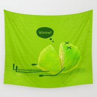 lime green Wall Tapestries featuring Lime by Lime