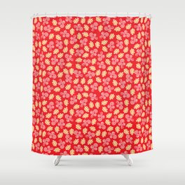 Gust and Leaves Pattern (Red) Shower Curtain