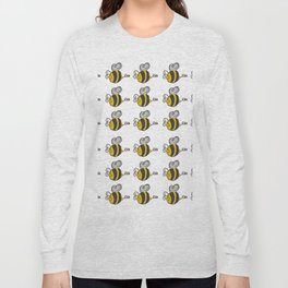 Hand drawn black yellow stripes cute honey bee illustration Long Sleeve T-shirt