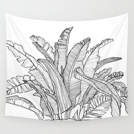 Palm Beach - Black and White Wall Tapestry