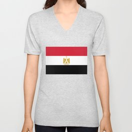 National flag of Egypt, Authentic version in scale and color (High Quality) Unisex V-Neck