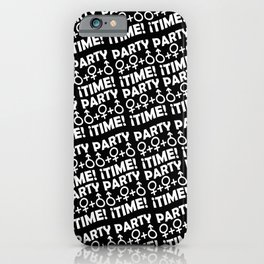Party Time Concept Typographic Pattern iPhone Case