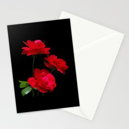 Red roses on black background Stationery Cards