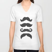 moustache V-neck T-shirts featuring Moustache by Jake  Williams