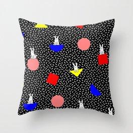 geometric bunny - 80s 90s inspired pattern - memphis milano Throw Pillow