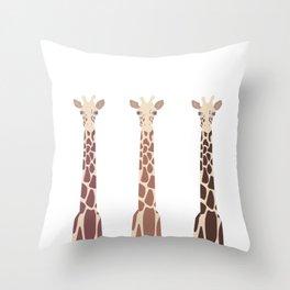 Triple Giraffes Throw Pillow