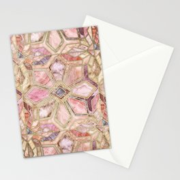 Geometric Gilded Stone Tiles in Blush Pink, Peach and Coral Stationery Cards