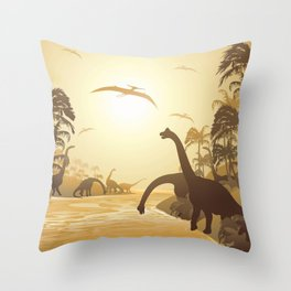 Dinosaurs on Tropical Jurassic Landscape Throw Pillow