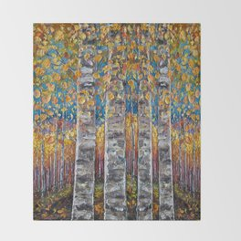 Colourful Autumn Aspen Trees Throw Blanket