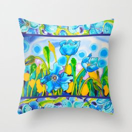 Blue Poppies 1 with Border Throw Pillow