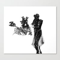 outlander Canvas Prints featuring Outlander Warrior and Maiden Sketch [Digital Figure Illustration] by Grant Wilson