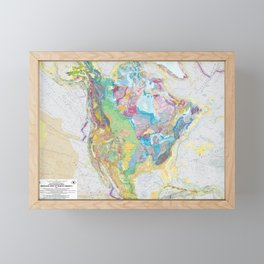 USGS Geological Map of North America Framed Mini Art Print