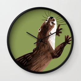 Asian small-clawed otter Green Wall Clock