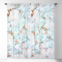 Soft Whites, Aquas and Blush of Pink and Rose Gold Veins Marble Blackout Curtain