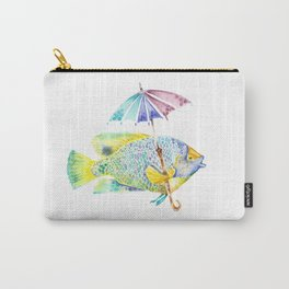 Fishy Fish - Original Watercolor of Yellow Mask Angel Fish with Umbrella Carry-All Pouch