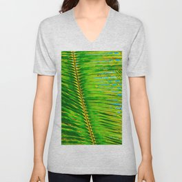 Coconut Frond in Green Aloha Unisex V-Neck