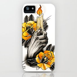 Hand holding CANDLE - tattoo iPhone Case