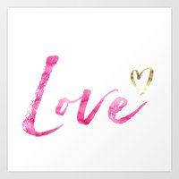 Love with Gold Heart Art Print