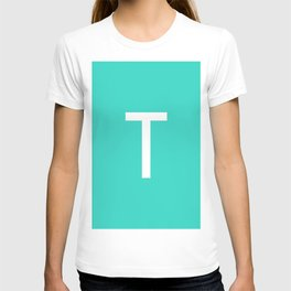 LETTER T (WHITE-TURQUOISE) T-shirt