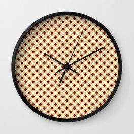 Geometric abstract marsala red yellow modern pattern Wall Clock